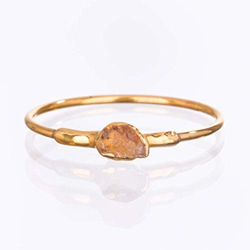 Dainty Rough Citrine Ring, Yellow Gold, November Birthstone, Size 7
