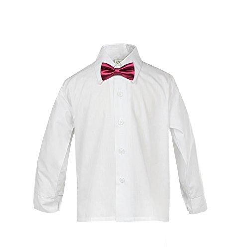LEADERTUX Baby Boy Formal Tuxedo Suit White Button Down Dress Shirt Color Bow tie Sm-4T (4T, Burgundy) by LEADERTUX (Image #1)