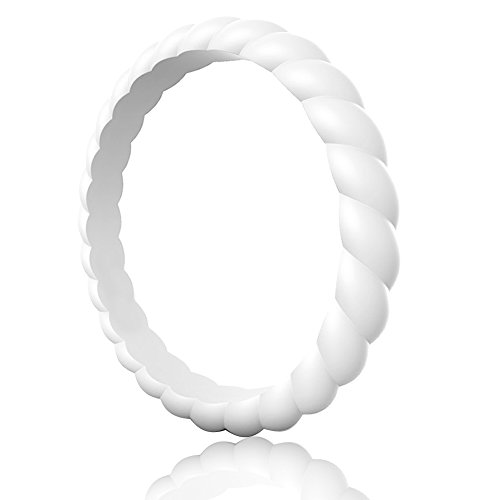 Egnaro Silicone Wedding Ring for Women,Thin and Stackble Braided Rubber Wedding Bands,No-Toxic,Skin Safe ()
