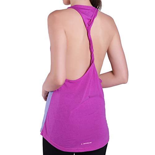 Empirelion Two-Tone Yoga Twistback Tank Tops Womens Workout Racerback Sleeveless (Double Heather Purple & Sky/Purple, 10)