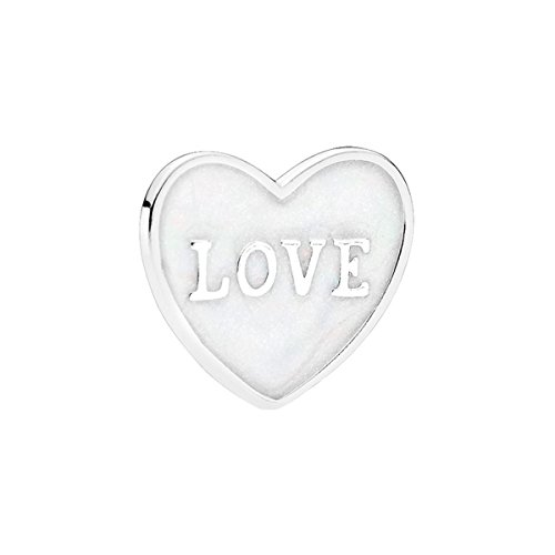 PANDORA Love Heart Plate, Medium, Silver Enamel Locket Charm 792119EN23