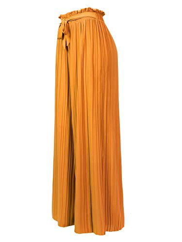 (Design by Olivia Women's Ribbon Tie Chiffon Loose Pleated Wide Leg Palazzo Pants Mustard ONE)