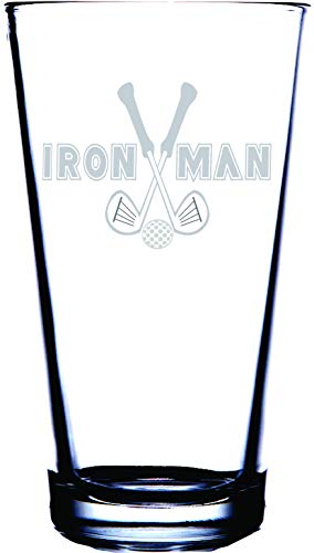IE Laserware Iron Man for the golf nut in your life is etched on this traditional 16 oz pint glass. Perfect for that golfer or golfing -