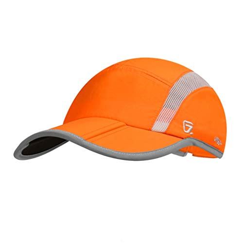 GADIEMKENSD Baseball Cap Nylon Running Cap Outdoor Sports Hat Adjustable Quick Drying Reflective Foldable 40+ UPF Inhibit UV Mesh Race Performance Lightweight Water Repellency for Men Woman Orange -