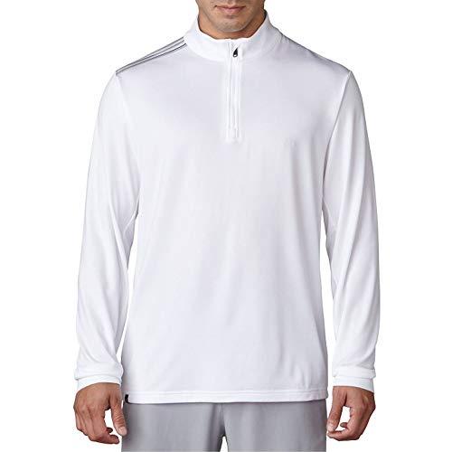 adidas Golf Men's Golf Adi 3-Stripes Classic 1/4 Zip Jacket, White, Large