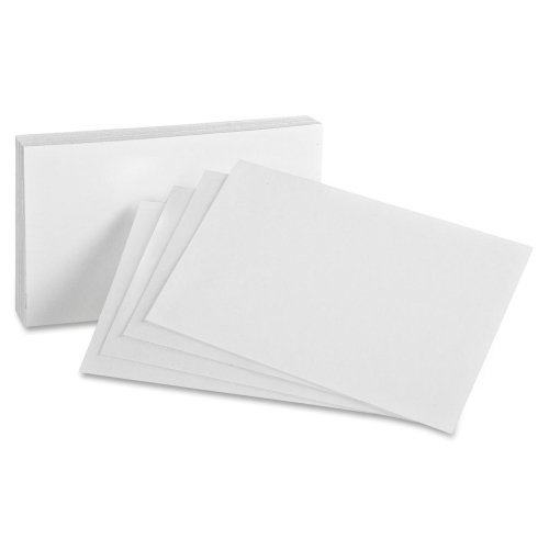 "Oxford Blank Index Cards - 5"" x 8"" - 85 lb - Recycled - 100 / Pack - White"
