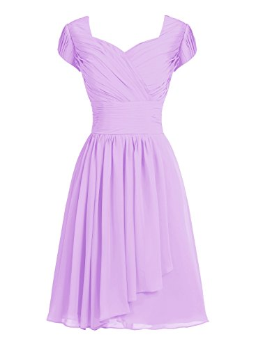 12bb25cfe5c Tideclothes ALAGIRLS Short Bridesmaid Dress Chiffon Prom Evening Dress Cap  Sleeves Lavender US14