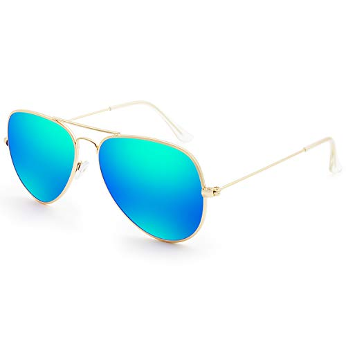 - Livhò Sunglasses for Men Women Aviator Polarized Metal Mirror UV 400 Lens Protection (Blue&Green)