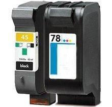 2 PK 51645A/D,C6578A/D (#45 #78) Black/Color Remanufactured Ink for Deskjet 1220C Series, Deskjet 6122, Deskjet 6127, Deskjet 9300, Deskjet 930C, Deskjet 932C, Deskjet 935C, Deskjet 950C, Deskjet 952C, Deskjet 960C Series, Deskjet 970C Series, Deskjet 990C Series, Deskjet 995C Series