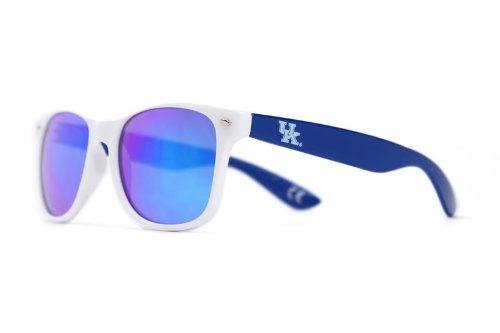 - NCAA Kentucky Wildcats KENT-3 White Front Temple Blue Lens Sunglasses, One Size, White