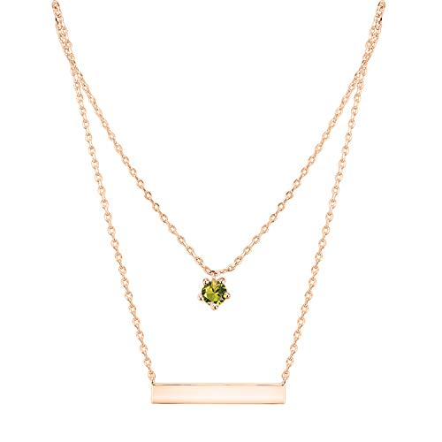 PAVOI 14K Rose Gold Plated Swarovski Crystal Birthstone Bar Necklace Pendant Engraveable August