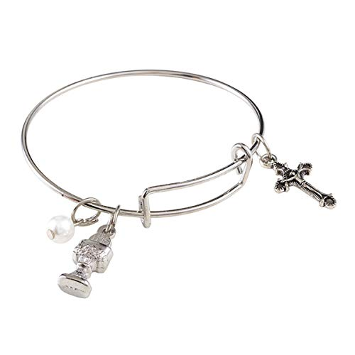 Silver Tone First Holy Communion Bangle Charm Bracelet, 6 1/2 Inch -