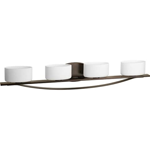 Progress Lighting P2040-20WB Arise 4-Lt. Bath and Vanity Fixture with Etched opal glass shades - Etched Opal Glass Shade