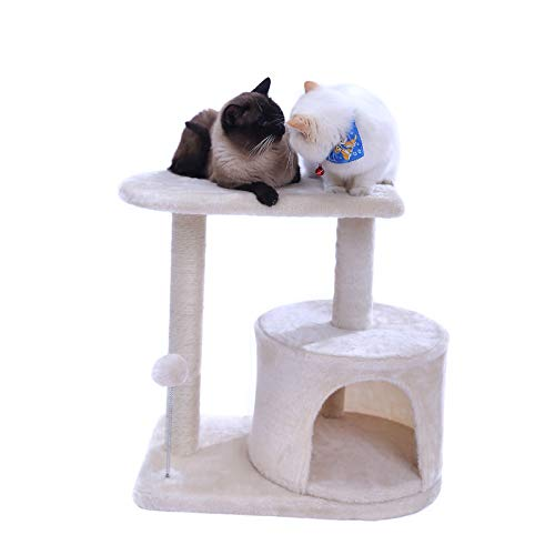 "Hey-bro Sturdy Cat Tree with Larger Cave, Luxurious Padded Condo and Big Top Perch, Sisal-Covered Scratching Posts, Climbing Tree for Kittens, 21.7"" (55 cm), Beige, MPJ001M"
