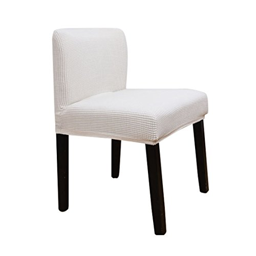 Deisy Dee Stretch Chair Cover Slipcovers for Short Back Chair Bar Stool Chair (white)