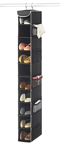 "Hanging Shoe Holder (Zober 10-Shelf Hanging Shoe Organizer, Shoe Holder for Closet - 10 Mesh Pockets for Accessories - Breathable Polypropylene, Black - 5"" x 11 ½"" x 52"")"