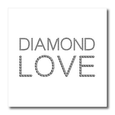 3dRose Alexis Design - Typography Diamond - Fascinating text Diamond Love. Diamond-shaped images. Black on white - 6x6 Iron on Heat Transfer for White Material (ht_286735_2) from 3dRose
