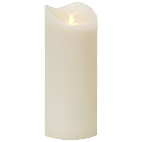 LED Kerze Echtwachskerze mit Timer Ø9,5cm Echtes Wachs 23cm Weiß mit Flammen-Simulation