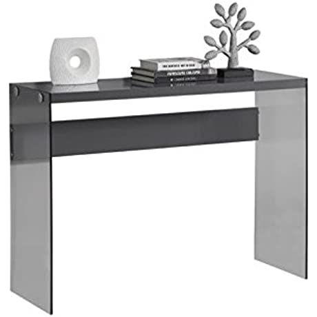Bowery Hill Tempered Glass Console Table In Gray