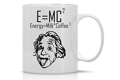 Funny Coffee Mug 11OZ - E=MC2 Energy = (Milk x Coffee)2 - Einstein Mugs for Coders and Engineers - Perfect Gift for Men & Women, Cute Math Mug - Crazy Bros Mugs