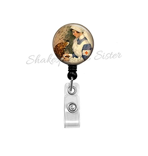 Badge Reel - Vintage Nurse Image - Vet Tech - Veterinarian - Retractable ID Holder - Nurse Art - Nurse Badge Reel - Veterans Nurse - Gift for Nurse