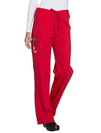 Core Stretch By Cherokee Workwear Unisex Drawstring Cargo Scrub Pant X-Small Red