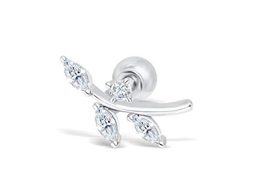 ONDAISY Stainless Steel Simulated Diamond Cz Flower Tree Twig Ear Barbell Ball Stud Earring Piercing - Jewelry Tree Twig