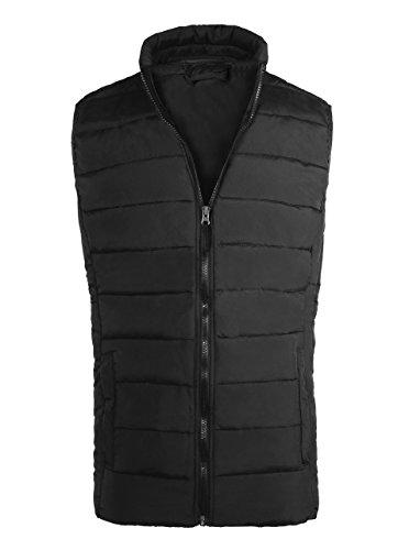 Outdoor Outerwear Mens - Men's Zip Up Soft and Flexible Vest Jacket Black US L/Label 46/48