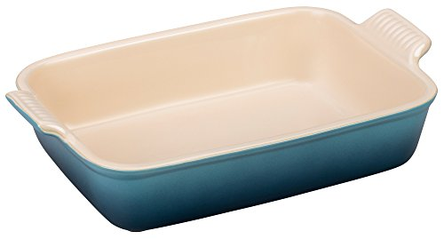 Le Creuset Heritage Stoneware 10-1/2-by-7-Inch Rectangular Dish, Marine - Le Creuset Oven Safe Casserole