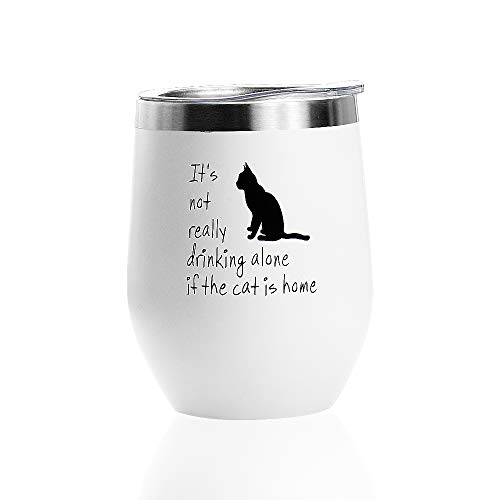 12oz Wine Glass Tumbler with Lid Vacuum Insulated Stemless Stainless Steel Wine Cup for Wine, Coffee, Champagne, Cocktails and Beer (Wine A Cat In Glass)