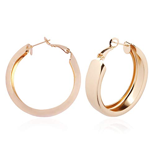 - 2019 New Design Metal Geometric Round Hoop Earrings Gold Color Big Circle Earrings For Women Jewelry Wholesale E43901,E4181