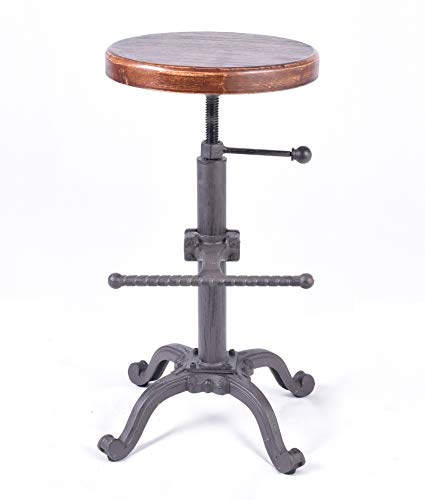 etro Vintage Farm Wooden Tractor Stool Kitchen Swivel Height Adjustable bar Stool (Dark Brown) ()