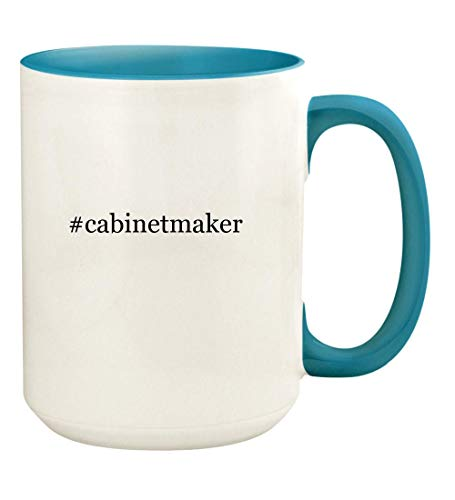 #cabinetmaker - 15oz Hashtag Ceramic Colored Handle and Inside Coffee Mug Cup, Light Blue