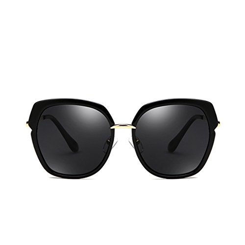 NUBAO Polarized Sunglasses Female Round Face Street Sunglasses Long Face Thin Driving Glasses Beach Rest (Color : Black) (Was Sonnenbrille)