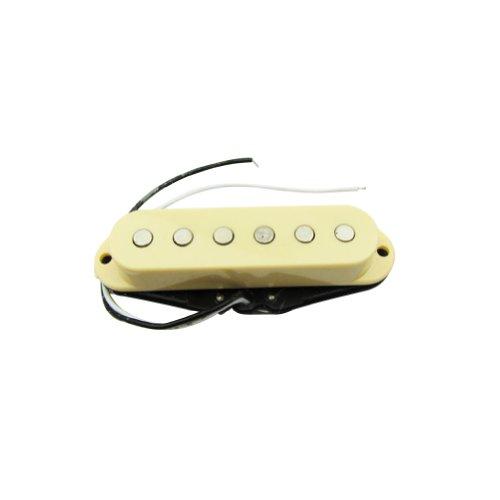 Strat Bridge Cover (Musiclily 52MM Single Coil Pickup Bridge Pickup for Fender Strat Squier Electric Guitar Parts, Cream Cover)