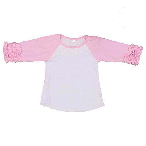 Kaiya Angel Toddler/Little Girl's Icing Ruffle Shirts Raglan Shirts 2-6 Years, White Light Pink, 100(2T)