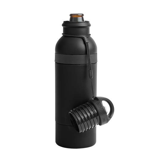BottleKeeper X  - Double Walled Vacuum Insulated Bottle with a Bottle Opener Built into the Tethered Cap - Protects & Keeps Your Beer Cold Up To 6 Hours - Black