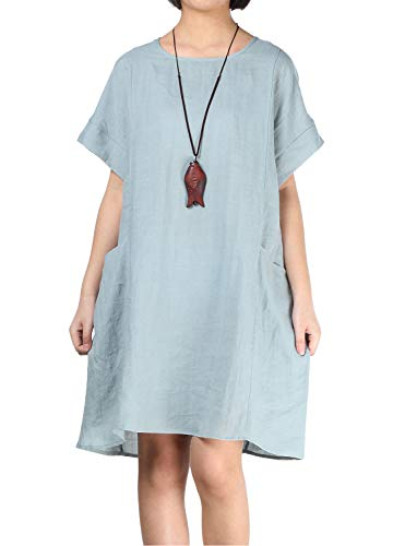 Mordenmiss Women's Linen Tunic Dresses Dropped Shoulder Loose-Fit Long Tops with Big Pockets (XL,Gray-Blue)