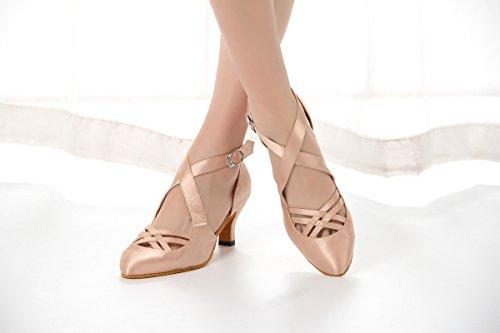 Satin Dancing Girls Shoes 6cm Almond Pumps Nude Women's Wedding Heel Miyoopark Toe Practice Teaching BSIWq