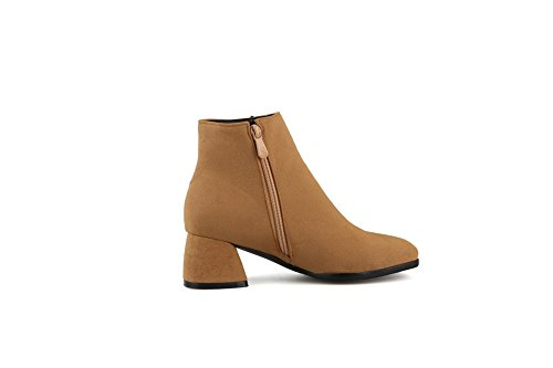 AdeeSu Ladies Solid Kitten-Heels Square-Toe Imitated Leather Boots Yellow hgmF9k3