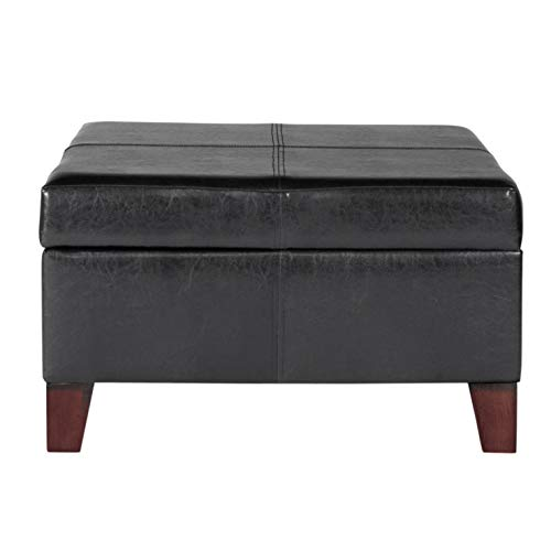 HomePop Large Black Faux Leather Storage Table Bench Living Room Bedroom by HomePop (Image #1)'
