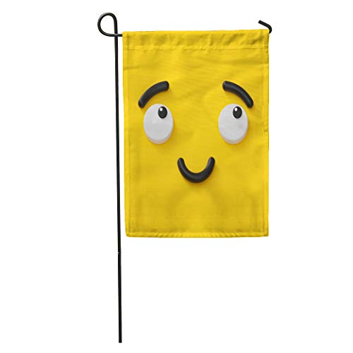Semtomn Garden Flag 3D Render Cute Emotional Cartoon Face Shy Smiley Kid Adorable Home Yard House Decor Barnner Outdoor Stand 28x40 Inches Flag