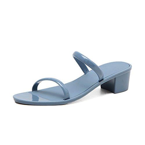 SCLOTHS Chanclas Para Mujeres Piso con Zapato Abierto de tacón bajo impermeable antideslizante Playa Blue