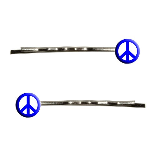 Graphics and More Peace Sign Blue Bobby Pins Barrettes Hair