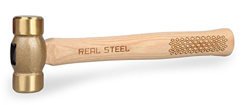 Real Steel 0421 Hickory Wood Brass Non-Sparking Hammer, Copper Mallet 20 Ounce by Real Steel