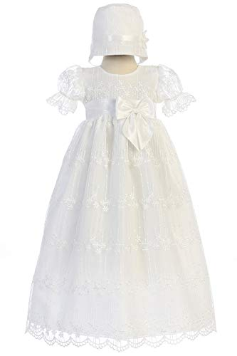 SWEA Pea & Lilli Camila Girls Christening Baptism Embroidered Tulle Gown Dress (0-3m) from Lito Childrens Wear
