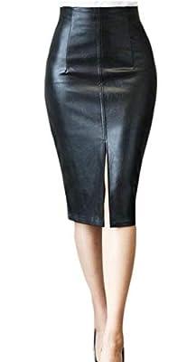 Gocgt Women Split Bodycon PU Leather Fall Winter Midi Skirt