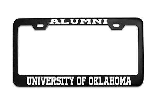 (XYcustomBest License Plate Frame Tag Stainless Steel Metal with Chrome Screw Caps | Alumni University of Oklahoma University Black (1) Stainless Steel License Plate Cover for Women/Men)