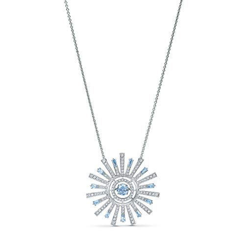 SWAROVSKI Women's Sunshine Floral, Rhodium Finish, Earrings, Necklace, Pendant Blue/White Crystal Jewelry Collection