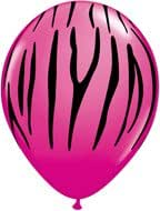 "25 Pink Berry ZEBRA Black STRIPE Print Jungle Animal Safari 11"" Latex Balloons"
